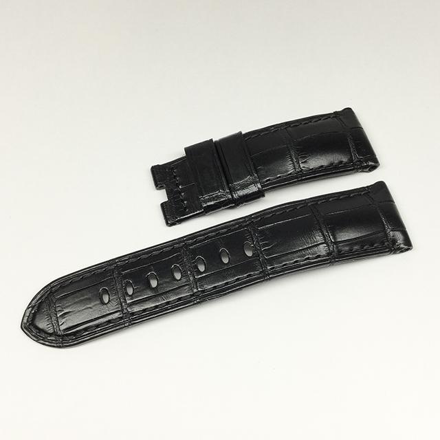 SALE パネライ Dバックル用純正ロングサイズ革ベルト アリゲーター 黒/ブラック 24mm-22mm 新品 WEB限定品