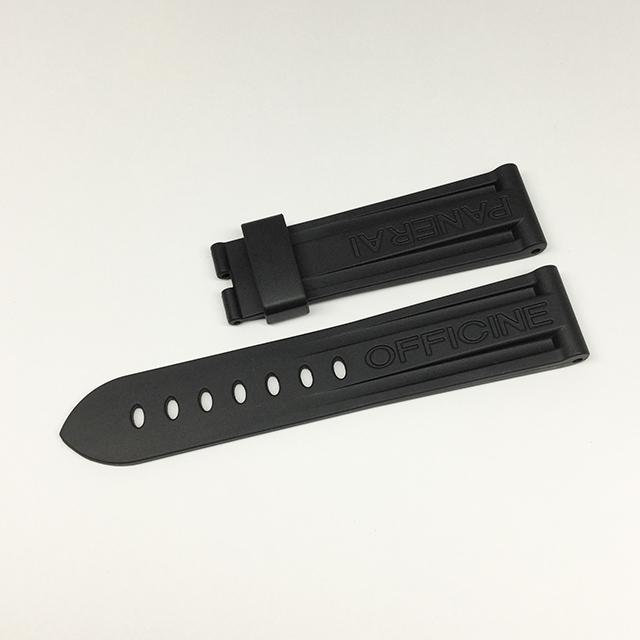 SALE パネライ 尾錠用純正革ベルト ラバー 黒/ブラック 22mm-20mm 新品