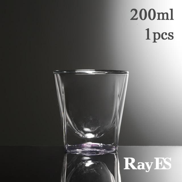 桃 紫 ピンク パープル クリアー グラデーション 透明 カラー rayes レイエス スクエア ダブルウォールグラス