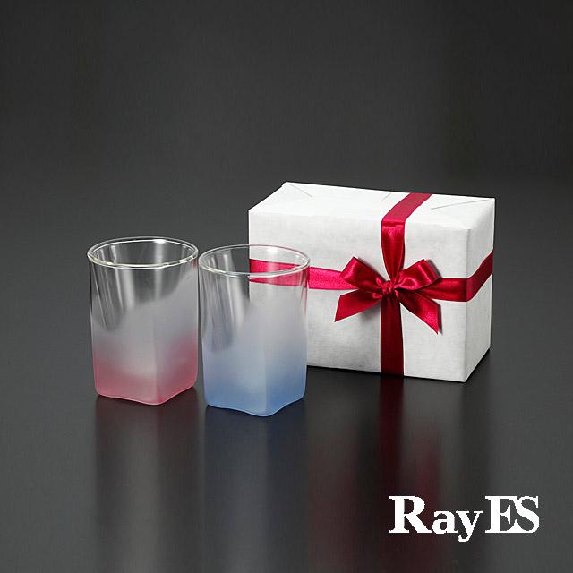 ブルー ピンク 青 桃 フロスト グラデーション カラー ペア ギフト rayes レイエス スクエア ダブルウォールグラス