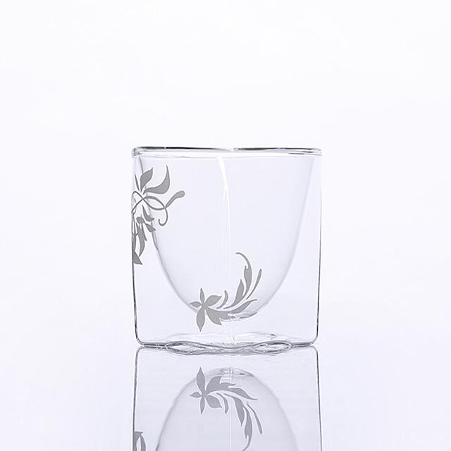 シルバー 004 リーフ デザイン カラー rayes レイエス スクエア ダブルウォールグラス