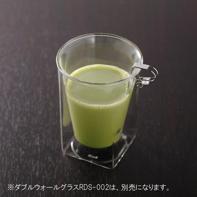 ダブルウォールグラスRayESレイエスのクリップ式チタンスプーン 抹茶オレ