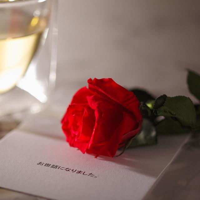 バラ プリザーブド フラワー 花束 卒業 退職 転勤 rayes レイエス スクエア ダブルウォールグラス