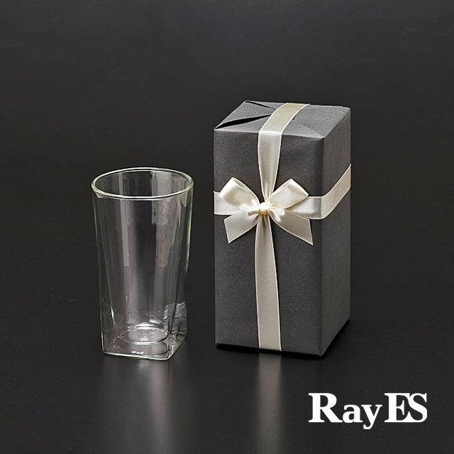 1個入り ギフト プレゼント ラッピング RDS-002L 400ml ビール ビア  rayes レイエス スクエア ダブルウォールグラス