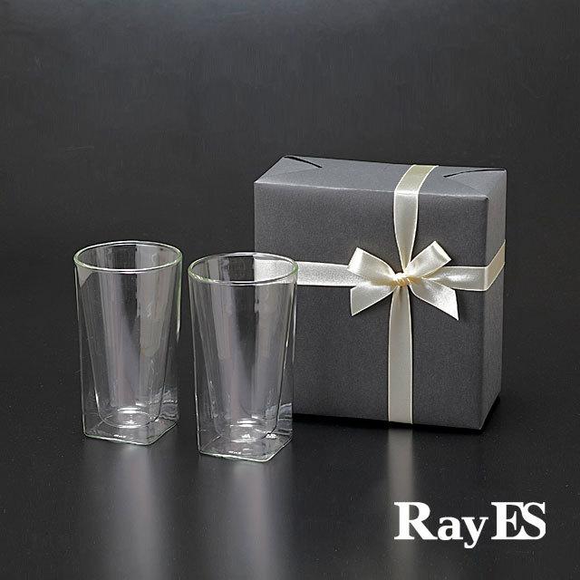 ペア 2個入り ギフト プレゼント ラッピング RDS-002L 400ml ビール ビア  rayes レイエス スクエア ダブルウォールグラス