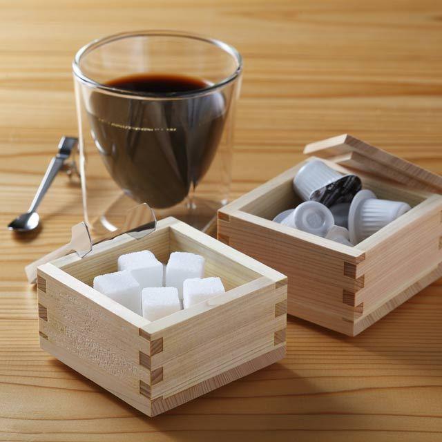 マス 枡 ます 小物入れ 砂糖 フレッシュ ミルク シュガーポット rayes レイエス ダブルウォールグラス