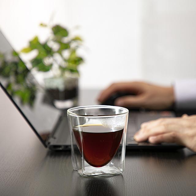 テレワーク telework coffee 自宅 仕事 rayes レイエス ダブルウォールグラス