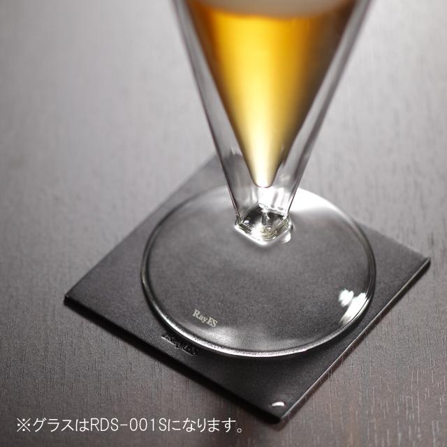 栃木レザー 天然本革 コースター 001S ビール rayes レイエスダブルウォールグラス
