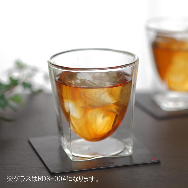 栃木レザー 天然本革 コースター 004 rayes レイエスダブルウォールグラス