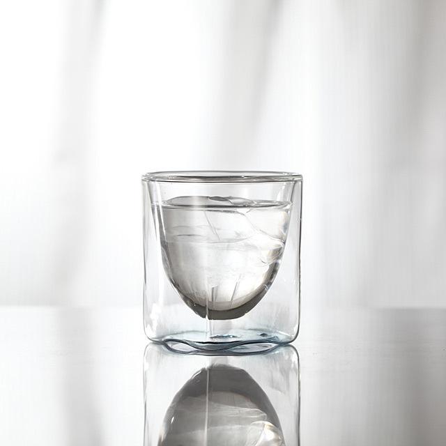 朝 水 青 ブルー クリアー グラデーション 透明 カラー rayes レイエス スクエア ダブルウォールグラス
