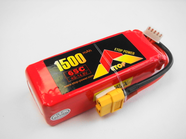 Lipo 4Sー1500mAh(65C)XT60 E−Top Power