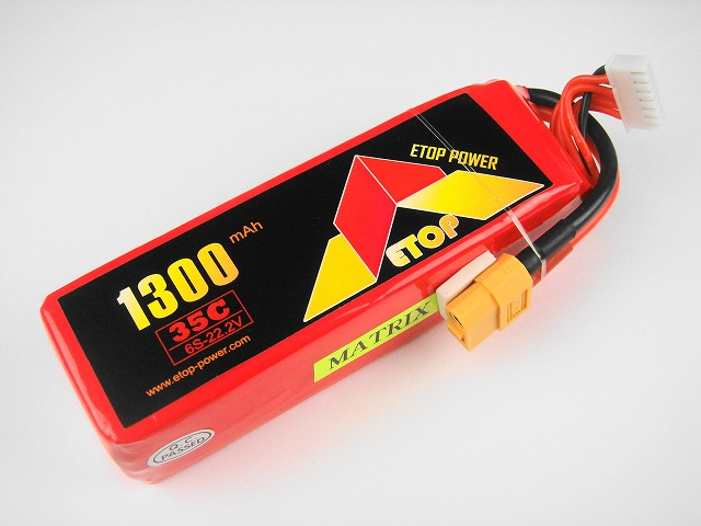Lipo 6Sー1300mAh(35C) ヘリ用サイズ E−Top Power