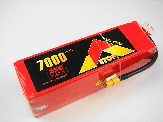 Lipo 6Sー7000mAh(25C) XT60 E−Top Power