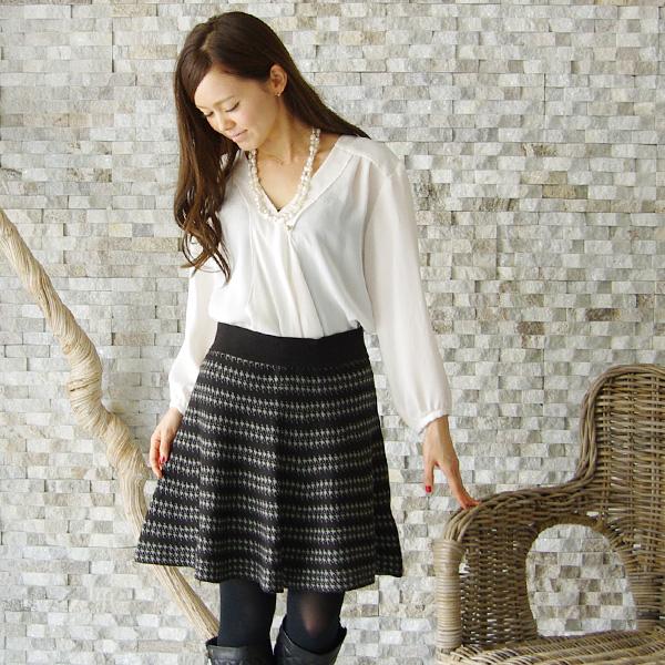 【Cu】日本製 ジャガード柄風ニットフレアスカート(Z97363)★メール便発送