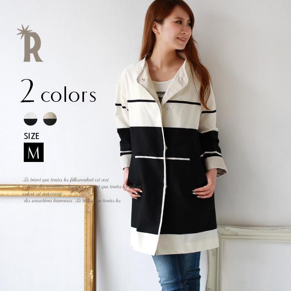 【ポイント100%還元】Buyer's select 日本製 ラインデザインスプリングコート(421134)