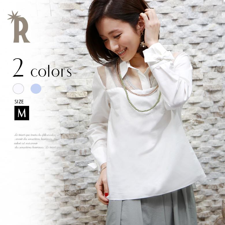 【ポイント100%還元】RUXE de'vance 日本製 袖口リボン透かし切替えシャツプルオーバー(631551)