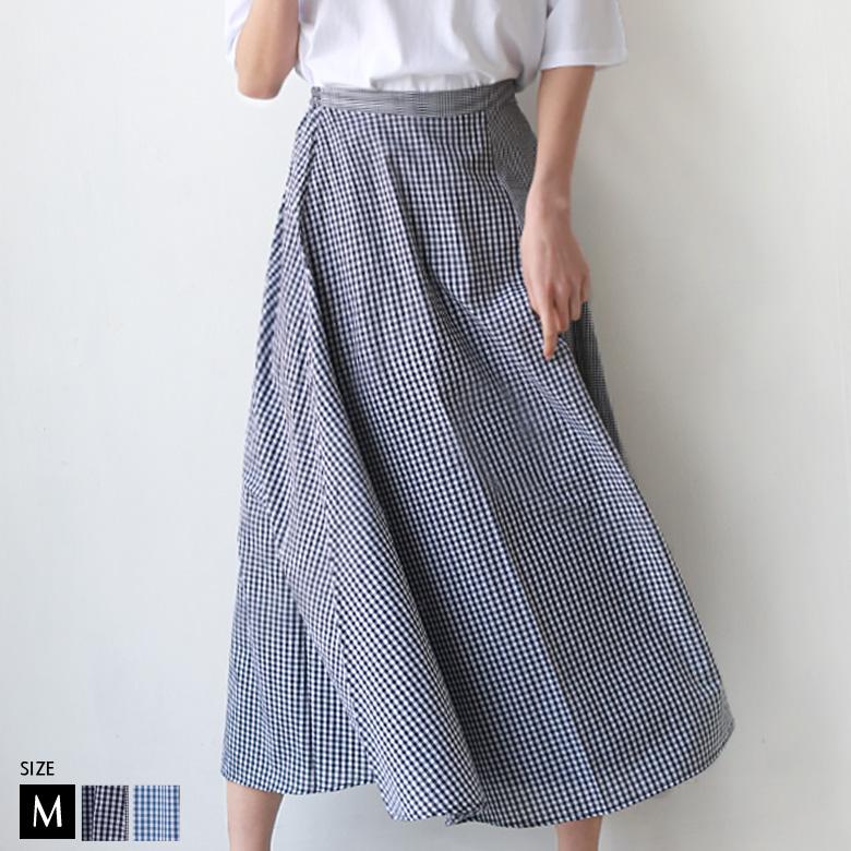 【ポイント100%還元】Buyer's select ギンガムチェック切替デザインスカート(28103A134)