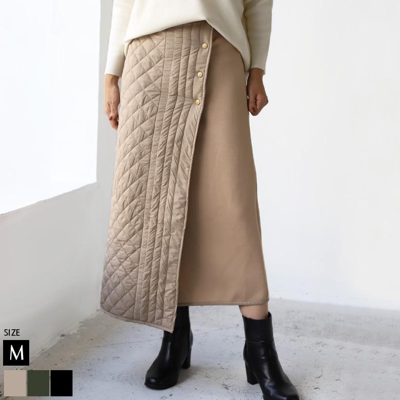 キルティング×ボンディングラップスカート(35-0165)【予約11月中旬頃入荷予定】