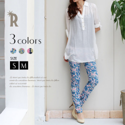 【SALE価格】【Cu】シャーリング花柄パンツ(Z41885)