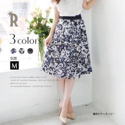 【セール価格】【Cu】花柄プリント透けコードチェックフレアスカート(Z32401)※返品交換不可