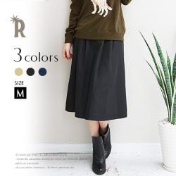 【ポイント100%還元】【Cu】ミモレ丈タックフレアースカート(Z32461)