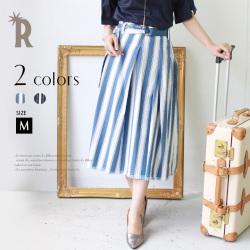 【ポイント100%還元】Hoochie Coochie 日本製 ベルト付裾フリンジストライプスカート(713872)▼