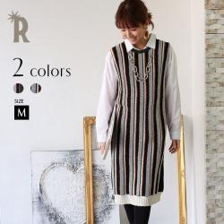 【ポイント100%還元】【特別価格】Buyer's select 日本製 【Yamagata Knit】マルチストライプチュニックワンピース(752-65025)