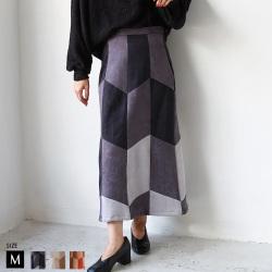 【ポイント100%還元】she mo shelly パッチワークセミタイトスカート(980-32226)