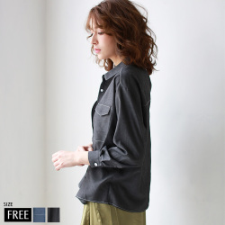 ROSIEE シャンブレーバックデザインデニムシャツ (R210210)