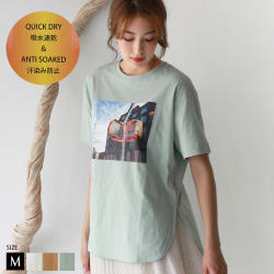 【Cu】【吸水速乾・汗染み防止】カラーフォトプリントTシャツ(Z59486)【メール便】