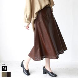 【ポイント100%還元】【Cu】パンチングエコレザースカート(23-0004)