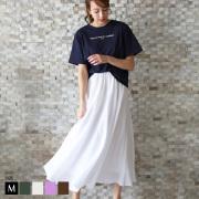 REAL CUBE 楊柳イレギュラーヘムロングスカート (991055)