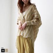 【特別価格】CLOCHE マルチストライプビッグシルエットシャツ (012-85641)