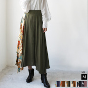 【特別価格】Lupino スカーフ柄アシメサテンスカート(75201)
