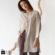 【特別価格】Buyer's select  日本製  ワッシャー加工ノーカラーブラウス (012-64504)