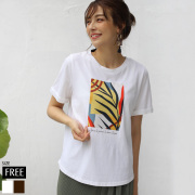 ROSIEE リーフ柄プリントTシャツ(R352602)【メール便】