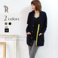 Buyer's select 日本製 ビジューボタンブークレーミディアム丈カーディガン(065-0906)