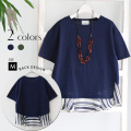 【Cu】Made in Japan バック裾ボーダーコットン100%カットソー(Z57244)【2017 S/S】★メール便発送【送料100円】▼