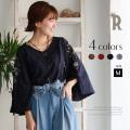 【Cu】ドローストリングフラワー刺繍フレアスリーブコットン100%トップス(Z57522)▼