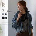Pauline Bleu 裾フリンジデザインオーバーサイズデニムジャケット(48571)【2017 A/W】▼
