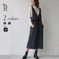 【Cu】ベルトデザインフラワー×チェック柄ジャンパースカート(Z62822)▼