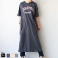 【特別価格】She mo shelly オーバーサイズカレッジロゴTシャツワンピース(982-22036)▼