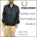 【FRED PERRY】フレッドペリー【J6213 Tartan Cire Harrington Jacket/102 ブラック】タータンチェック ハリントン ジャケット