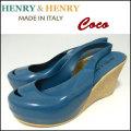 HENRY&HENRY/ヘンリー&ヘンリー/COCO/ウェッジサンダル/レディース/PETROL/ハイヒール/オープントゥ/ラバー