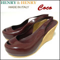 HENRY&HENRY/ヘンリーアンドヘンリー/COCO/ウェッジサンダル/レディース/WINE/ハイヒール/オープントゥ/ラバー