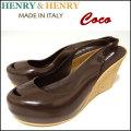 HENRY&HENRY/ヘンリーアンドヘンリー/COCO/ウェッジサンダル/レディース/BROWN/ハイヒール/オープントゥ/ラバー