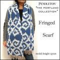 Pendleton /THE Portland Collection/ペンドルトン/ポートランド コレクション/ブルー/ウール フリンジ マフラー/ストール