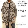 Pendleton /THE Portland Collection/ペンドルトン/ポートランド コレクション/ブラウン/ウール フリンジ マフラー/ストール