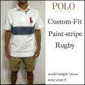 セール!ラルフローレン/POLO Ralph Lauren/ポロシャツ/メンズ/カスタムフィット/Custom-Fit Paint-Stripe Rugby/ホワイト/ビッグポニー