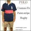 セール!ラルフローレン/POLO Ralph Lauren/ポロシャツ/メンズ/カスタムフィット/Custom-Fit Paint-Stripe Rugby/ネイビー/ビッグポニー